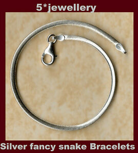 real 925 solid sterling silver ladies snake chain bracelets round flat square