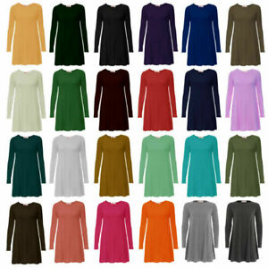 Women Ladies Long Sleeve Flared Swing A Line Smock Skater Dress Top Sizes 8-26