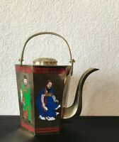 Vtg Chinese Brass Teapot Enamel Figural 6 Sided Hexagon Made in Taiwan Asian