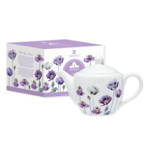 Ashdene Purple Poppies AWM Infuser Teapot 600mL - Fine Bone China