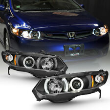Black 2006-2011 Honda Civic 2Dr Coupe Halo Angel Eyes Projector Headlights Lamps