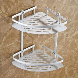 2 Tier Corner Shower Caddy Shelf Storage Rack Basket Bathroom Organiser Tidy