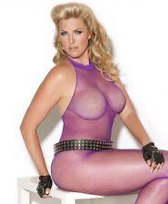 Purple Fishnet Halter Bodystocking w/ Open Crotch Women's Plus Size Lingerie