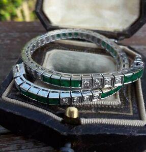 "Vintage 1980s 18K White Gold Over Diamond Colombian Emerald Tennis 7"" Bracelet"