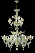 Lampadario in vetro di Murano Cristallo oro 6+3 luci