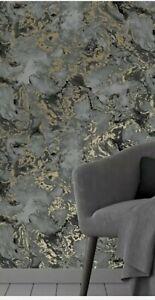 Liquid Marble Wallpaper charcoal/gold