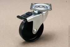 "1 set (4x swivel brake) 100mm (4"") plate black PP castors 55kg"