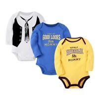 Newborn Infant Kids Baby Boy Girl Romper Jumpsuit Bodysuit Long Sleeves Clothes