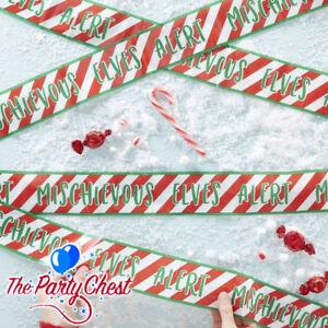 6M ELF CAUTION CHRISTMAS TAPE Mischievous Elves Alert Xmas Shelf Fun Decoration