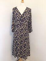 Boden Dress 14 Floral Blue Summer Ditzy Dandylion Print Peasant Midi Prairie WD1