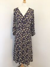 Boden Dress 14 Long Blue Summer Ditzy Dandylion Print Peasant Midi Prairie WD1