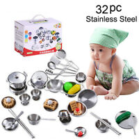 32PCS Set Kids Baby Play House Kitchen Toys Cookware Cooking Utensils Pots Pans