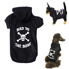 Dog Hoodie Fleece Black Skull XXS XS S M L XL - Warm Puppy Sweatshirt