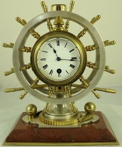 Antique French clock gilt & silvered-bronze nautical desk compendium Circa 1890