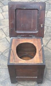 Antique Wooden Commode Chamber Pot Chair Potty Toilet Box Wood Seat. Prop.
