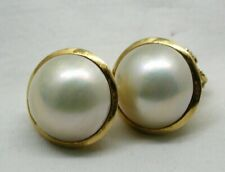 Beautiful 18 carat Gold Earrings Set With Fabulous Mabe Pearls