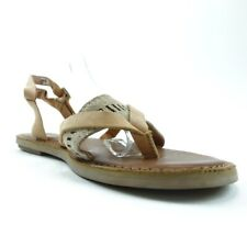 Toms Womens Slingback Thong Sandals Beige Tan Flat Heel Leather Buckle 6 New