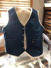VINTAGE Levi's Blue Denim Sherpa Lined Jean Vest Made In USA Mens Size Medium