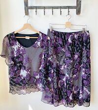ROMAN Originals Purple Black & White Paisley Two Piece Skirt & Top Lined UK16