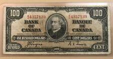 1937 $100 one hundred dollars Bank of Canada - Sir John MacDonald