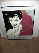 Vntg 1980s Patrick Nagel Art Print Rio Texas Duran Duran Poster Framed 33 x 24