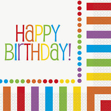 RAINBOW - HAPPY BIRTHDAY Party 16 Luncheon NAPKINS (Party/Tableware) #47112