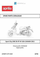 Aprilia parts manual book 2011 Sport City ONE 50 4T 4V USA-CANADA