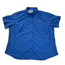 Columbia Pfg Short Sleeve Button Down Shirt - Size 2Xl Xxl Vented Zipper Pocket