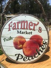 Farmers Market Fresh Peaches Round Sign Tin Vintage Garage Bar Decor Old Rustic