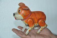 Vintage Wind Up HAJI Trademark Litho Jumping Dog Tin Toy, Japan