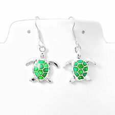 Handmade Green Opal Silver Sea Turtle Earrings Taxco Mexico