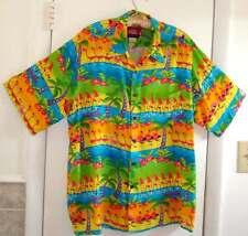 REYN SPOONER Disney Mickey Mouse Flamingo Button Front Hawaiian Shirt Size L