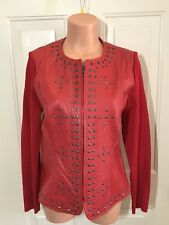 PETER NYGARD, Petite Size Medium, Leather & Knit Jacket w/Studs in RED.  NEW.