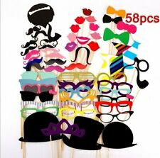 58pcs Wedding Photo Props Photo Booth Props Kit Paper for Wedding Decorative