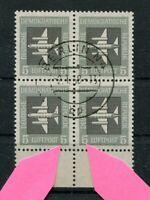 DDR Nr. 609 PF I + II gest. Flugpost im 4er-Block