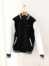 Converse black & white FAUX leather sport baseball bomber jacket Size M medium