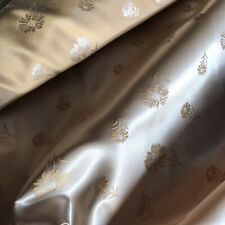 'DAISY' SATIN/BROCADE Fabric - ANTIQUE GOLD - £5.99 Per Metre With Free Postage.