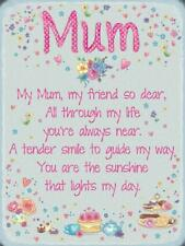 My Mum My Friend, Cute Quote Mom Mother's Day Gift, Small Metal Steel Wall Sign