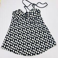 Liz Lange Maternity Tankini Halter Top Small Black White Polka Dot LightlyPadded