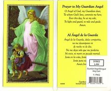 Prayer to my Guardian Angel Laminated catholic Spanish & English prayer card