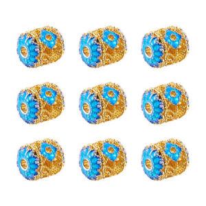 10pcs Barrel Electroplate Brass Enamel Beads Deep Sky Blue Metal Spacer 9x8mm
