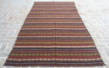 5'6 x 11'4 Handmade vintage afghan uzbek tribal turkish wool persian kilim rug