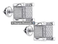 diamond .05 carats cube stud screwback earrings unisex men ladies 7x7 925 white