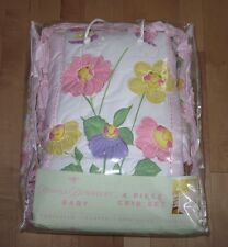 New Donna Dewberry Smiling Flowers Happy Faces 4 pc CRIB SET Bedding Pink Green