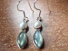 Cultured Pearl & Labradorite Marquise 925 Sterling Silver Earrings Corona Sun