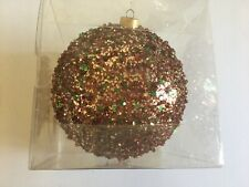 Red Green Sequin Beads Christmas Shatter Resistant 6 Inch Ornament Decoration