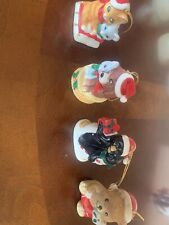 4 Christmas Village Bell Ornaments J.S.N.Y Ceramic Collectible