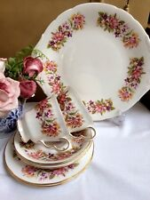Colclough Wayside Vintage China Afternoon Tea Set for 2 Cups Saucers Cake Plates