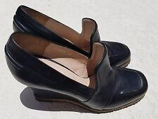 Dries Van Noten Black Leather Wedge Loafers 38 EU or US 7.5
