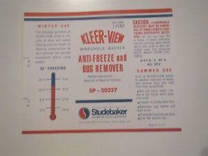 1955 - 1962 STUDEBAKER KLEERVIEW WINDSHIELD WASHER RESERVOIR BOTTLE DECAL NEW